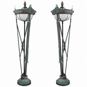 six foot tall grand bronze entry lamps at 1stdibs With 7 foot tall floor lamp