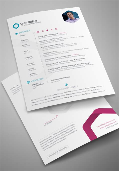 Free Creative Resume Templates Indesign by Indesign Resume Template Cv Design Tinydesignr