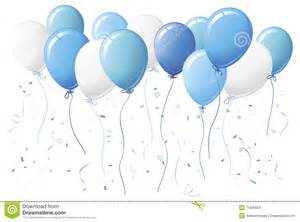 Blue Balloons and Confetti Clip Art