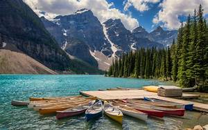 Kayaks, In, Lake, Moraine, Banff, Canada, Landscape, Photography, Ultra, Hd, Wallpapers, And, Laptop