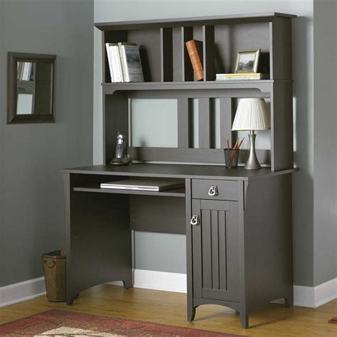 gray desk with hutch furniture large dark brown stained wood computer table