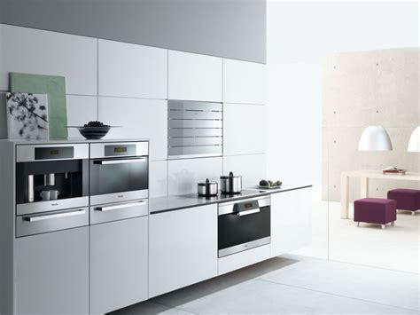 Miele Kitchen Cabinets by Modern White Kitchen With Miele Appliances In The