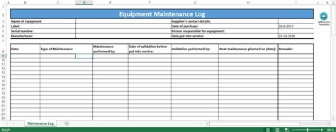 equipment maintenance log template templates