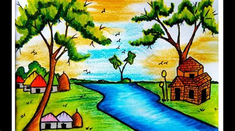 draw  scenery  nature  pastel colour