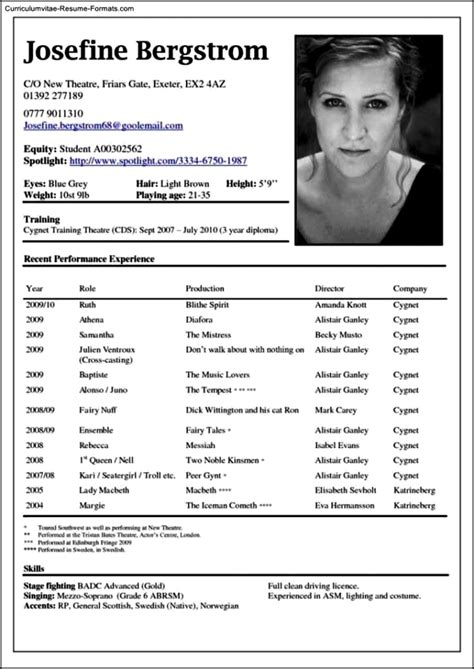 theatre resume template word  samples examples