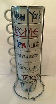 Enjoy your favorite hot beverage in style with world market's affordable coffee mugs and teacups. World Market Cities Of The World Stackable Coffee Mugs Set Of 6 Paris Rome Tokyo | eBay