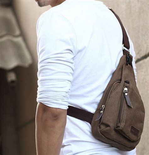 details  mens small canvas messenger shoulder sports hiking fanny crossbody bag rucksack