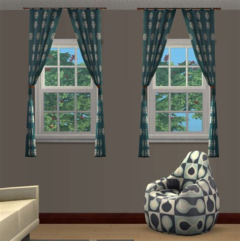 mod the sims base curtains for 2 tile windows