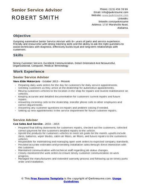 Automotive Service Advisor Resume by Service Advisor Resume Sles Qwikresume
