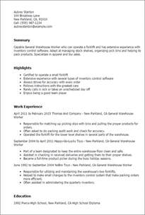 Warehouse Resume Exles by Professional General Warehouse Worker Templates To Showcase Your Talent Myperfectresume