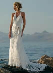 beachy wedding dress halter embellished lace beaded satin sheath wedding dress prlog