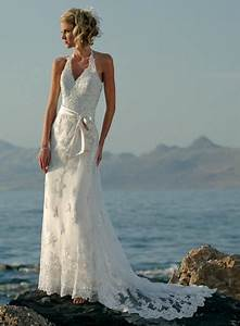 Halter embellished lace beaded satin sheath beach wedding for Halter beach wedding dresses
