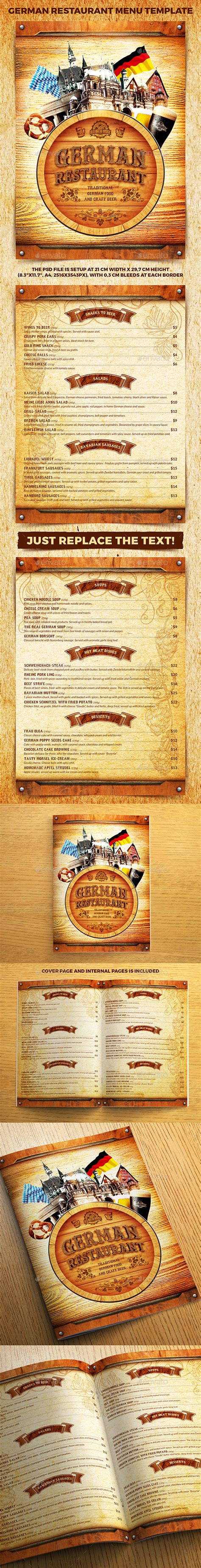 german cuisine menu german restaurant menu template by 4ustudio graphicriver