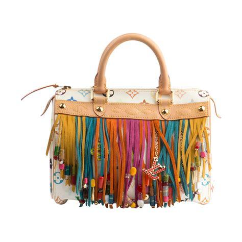 louis vuitton multicolor fringe speedy  white bag  takashi murakami  stdibs