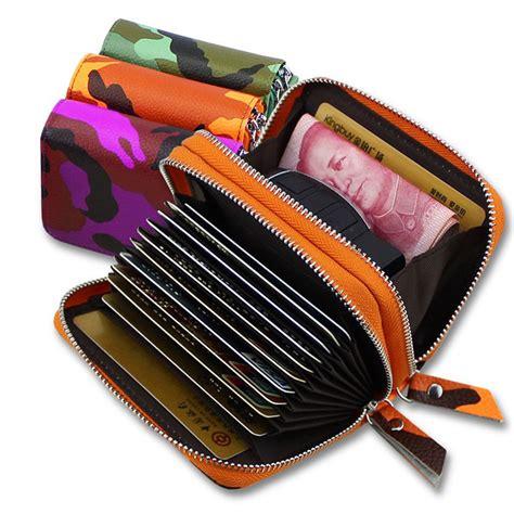 dompet kartu wanita motif kamuflase bahan kulit blue