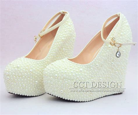 2015 New Fashion Wedding Wedges Formal Wedding Shoes White
