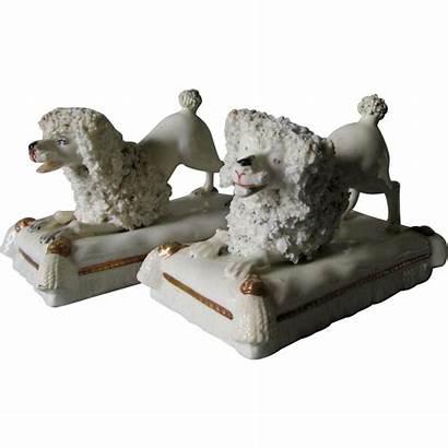 Staffordshire Spaniel Dogs Antique Poodle Pillows Pair