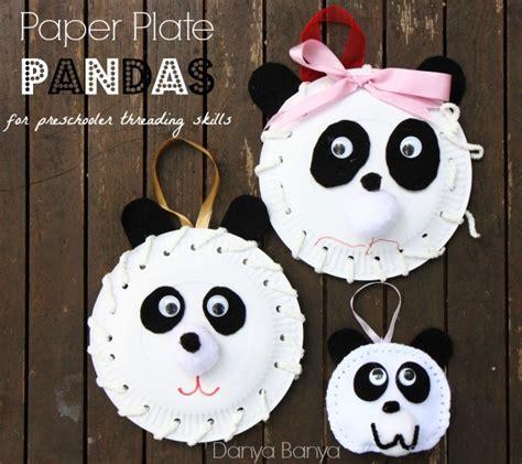 paper plate panda danya banya 350 | Make some Paper Plate Pandas for preschooler threading skills
