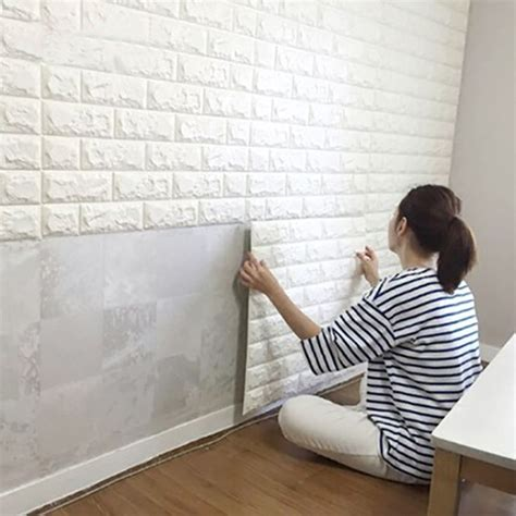 peel stick wallpaper brick design diy home decor