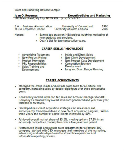 Marketing Resume Skills by Sales And Marketing Resume Sle