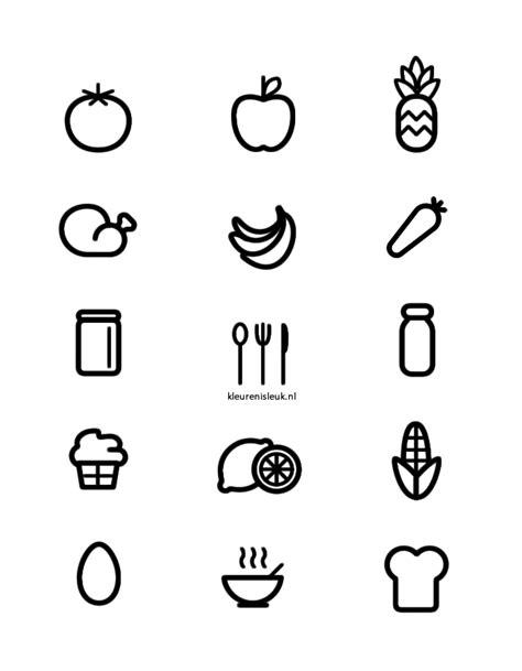 Kleurplaat Koekje Eten by Eten Leuk Lekker En Leerzaam Kleurplaat Food Icons
