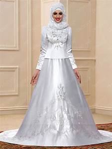 fancy embroidery long sleeves court train muslim wedding With fancy wedding dress