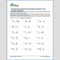 Grade 4 Math Worksheet Comparing Fractions And Mixed Numbers  K5 Learning