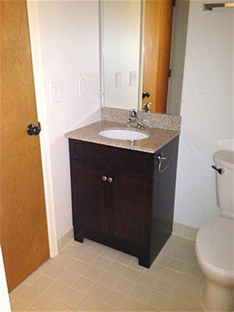 How To Install Bathroom Vanity Against Wall - how to replace and install a bathroom vanity and sink