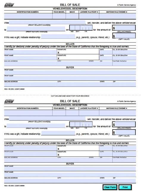 california dmv bill  sale reg  vehicle