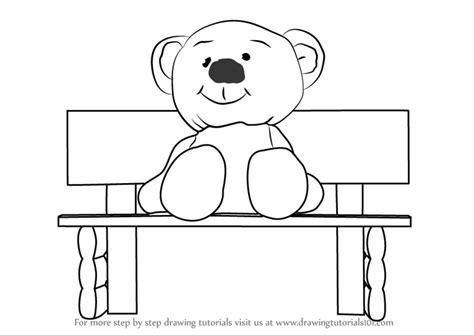 learn   draw teddy bear sitting  bench cartoons