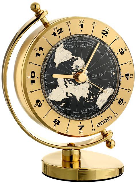seiko brass desk clock seiko desk and table world time clock solid brass case ebay