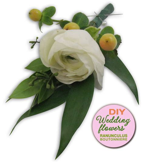 diy wedding flowers make a ranunculus boutonniere diy flowers 101 lessons launched