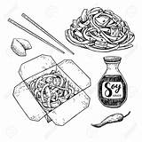 Chinese Wok Drawing Vector Box Isolated Drawn Noodles Chopsticks Hand Getdrawings Soy Vegetables Sauce Detailed Fast Vectors Wit Asian Royalty sketch template