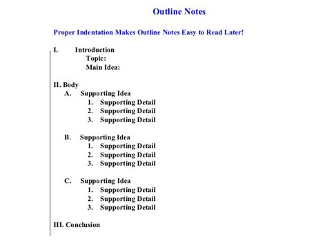 outline notes template note taking for students