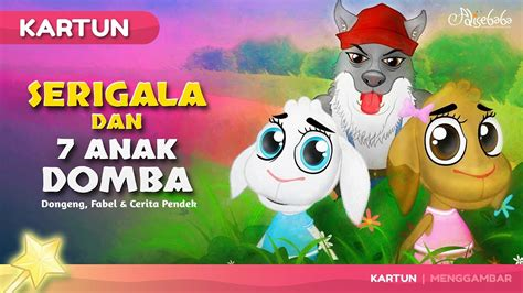 serigala  tujuh anak domba kartun anak cerita dongeng anak bahasa indonesia cerita anak
