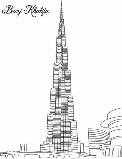 Burj Khalifa Drawing Pages Tower Clipart Buildings