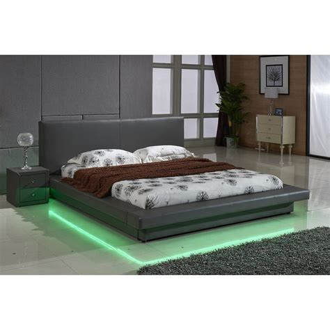30980 log furniture place modernist u s pride furniture faux leather platform bed with led