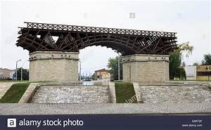 Replica of Trajan's Bridge over the Danube Stock Photo ...