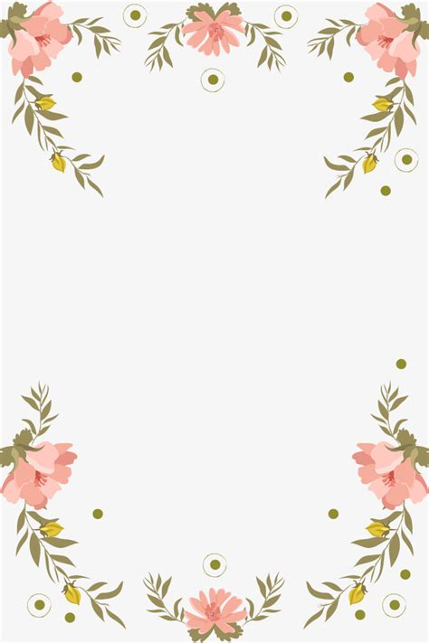 Floral Border Clip Pink Fresh Painted Floral Border Design Pink Green