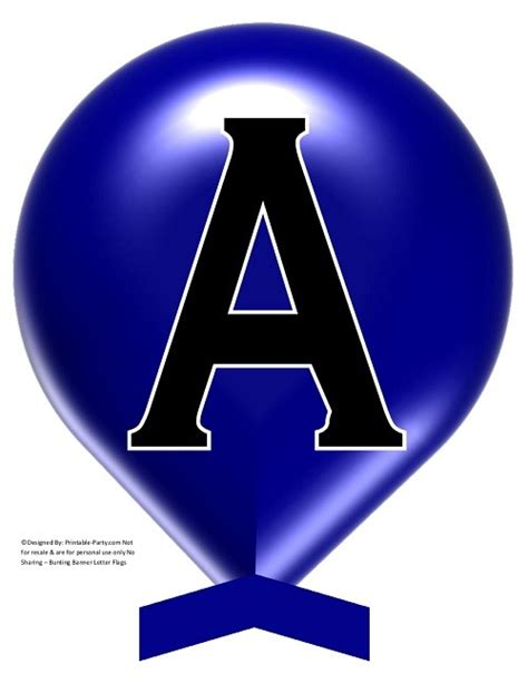 large dark blue balloon printable banner letters