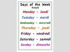 Days of the Week Poster English and French by Classroom