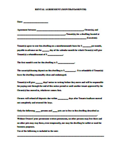 month  month room rental agreement template charlotte