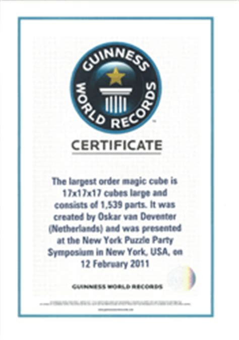 World Record Certificate Template by Media 17x17x17