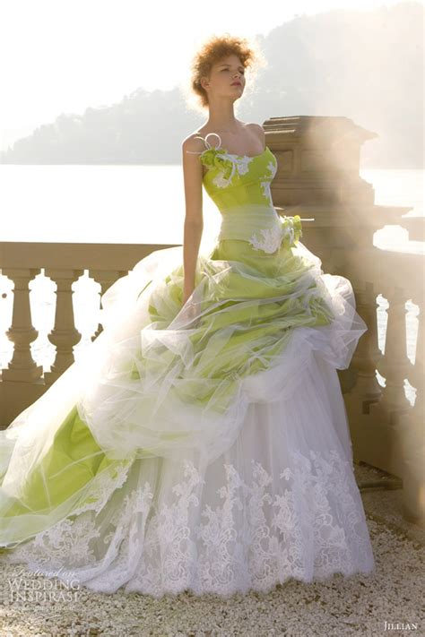 green  white wedding dresses luxury brides