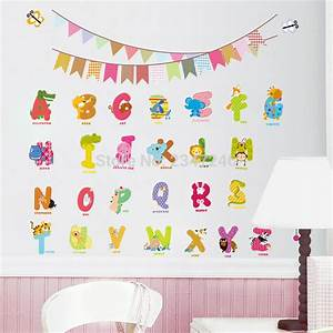 animal letters wall decals cartoon alphabet removable home With wall sticker letters removable