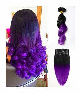 Extensiones con clip de pelo 100% natural mechas californianas color negro y morado Newcrin