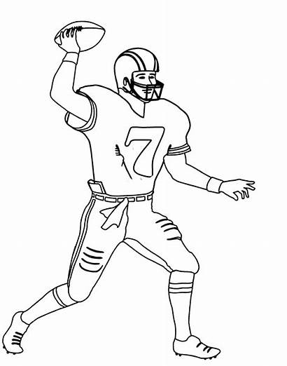 Football Player Coloring Nfl Drawing Pages Step
