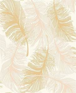 Feather gold wallpaper by coloroll woman cave