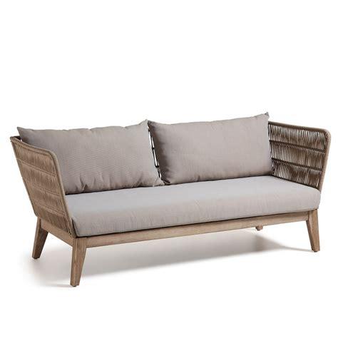 canape exterieur bois canapé de jardin 3 places en bois et corde belleny by
