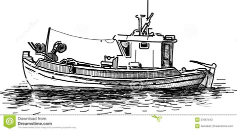 How To Draw A Traditional Boat by Fishing Boat Stock Vector Illustration Of Fishery